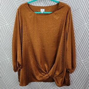Dressbarn Peasant Top Plus Size 2X 18/20 Blouse Shirt Lightweight Satin Knot