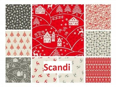 Christmas Scandi Makower Printed Panel Patchwork Quilting Cotton