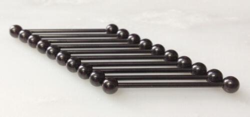 10pk Black Plated 316L Steel Industrial Barbells Wholesale Ear Body Jewelry