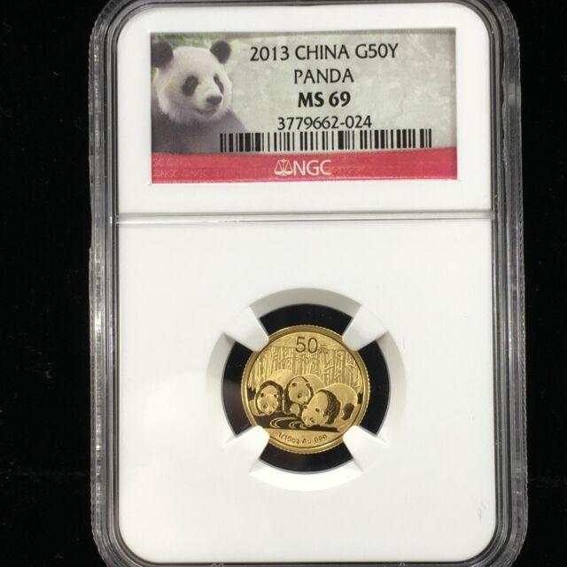 2013 $50 YUAN 1/10 OZ CHINESE .999 GOLD PANDA NGC MS 69 (024)