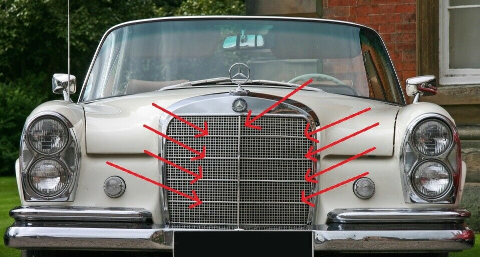 Mercedes Benz W108 SEL LONG Grill Moldings  8 Vertical and 1 Horizontal Bars NEW