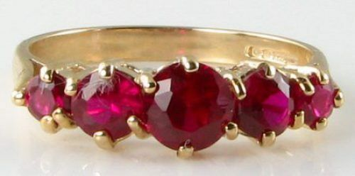 DIVINE 9K 9CT gold INDIAN RUBY HALF ETERNITY ART DECO INS RING FREE RESIZE