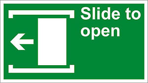 Slide To Open Left Safety Osha Ansi Label Decal Sticker