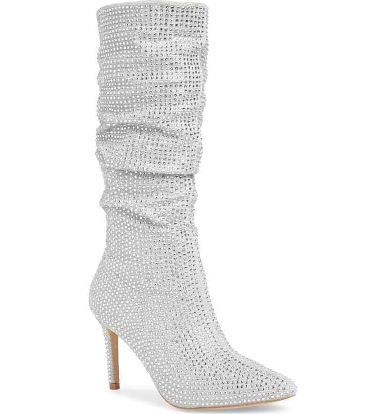 Lauren Lorraine Layzer Silver Rhinestone Embellished Pointed Slouch Dress Boot