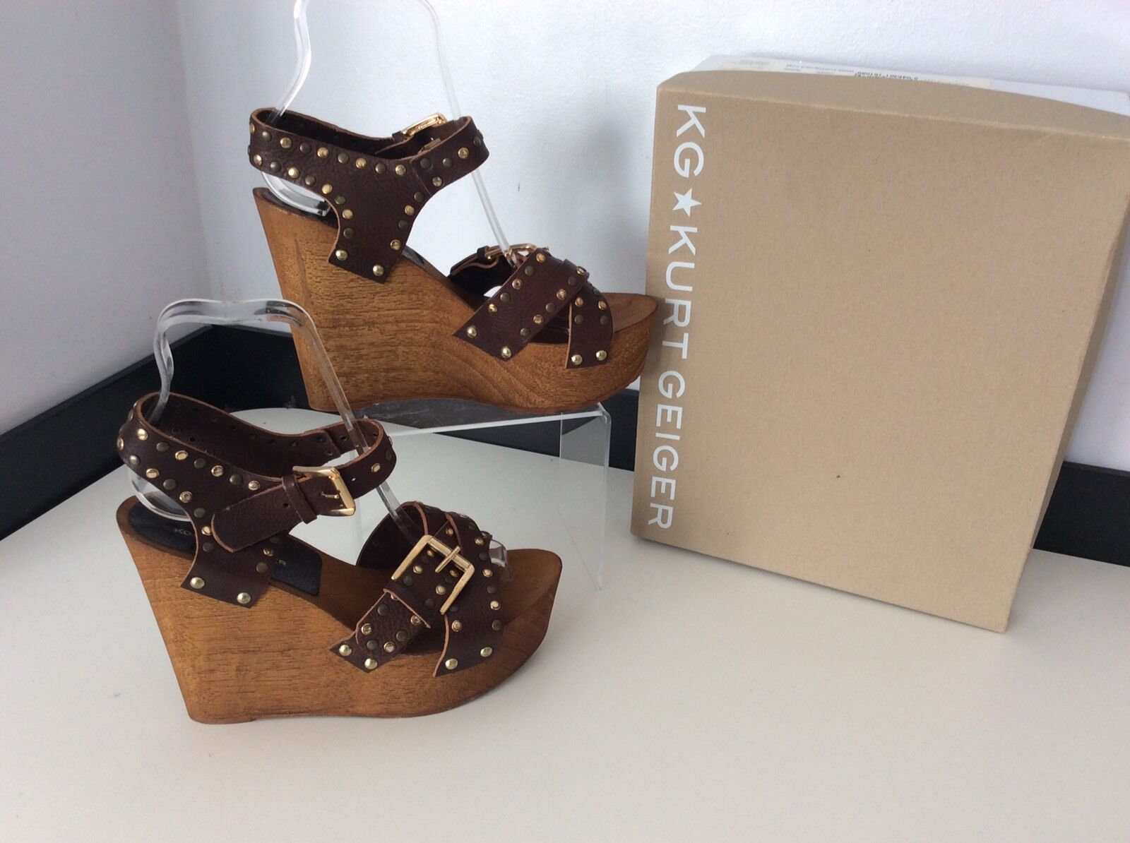 KURT GEIGER Kg NICKLE NEW braun wedge wedge wedge schuhe Peep Toe Größe 38 Uk 5 Boxed Rrp 79d20d