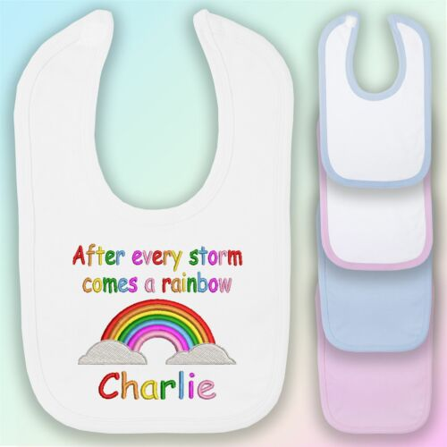 After Every Storm Comes a Rainbow Embroidered Baby Bib Gift Personalised