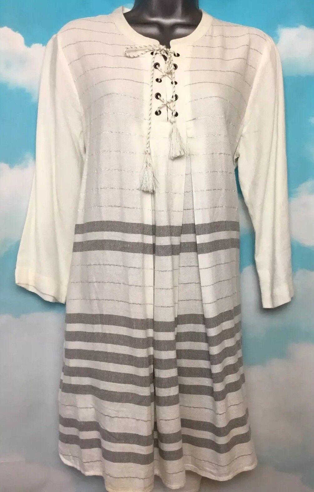 WHITE STUFF 12 NEW Grey White Stripe Voyage Lace Up Longline Tunic Shirt Dress