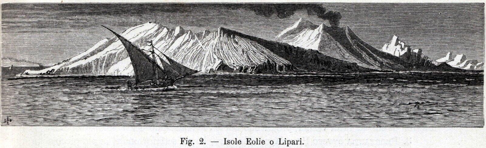Sicilia Isole Eolie o Lipari Aeolian Islands Stampa Antica Passepartout.1893