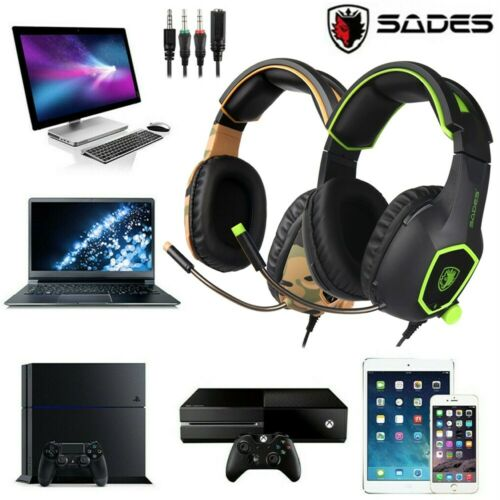 SADES Stereo Gaming PS4 XBOX One Headset Stereo Bass Over Ear Headphone MIC H2T0
