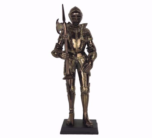 "Medieval Knight Gold Armor w// Pollaxe on Right Hand Figurine Statue 13/""H New"