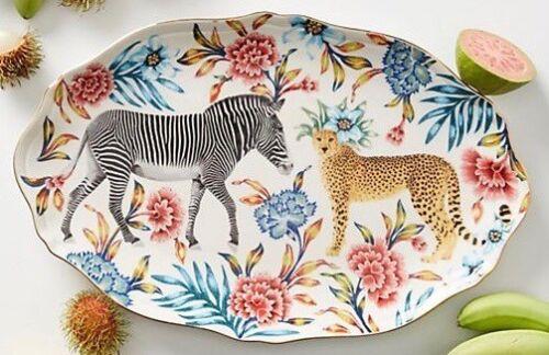 ANTHROPOLOGIE Zebra et Guépard Nature table plateau par Lou Rota Neuf avec étiquettes