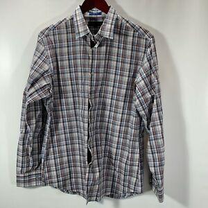 Banana-Republic-Shirt-Mens-Size-15-M-Medium-Button-Front-Cotton-Stretch-Plaid