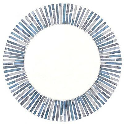 Modern Retro Moroccan Style Round Blue Tile Mosaic Mirror NEW 40cm Bathroom Hall