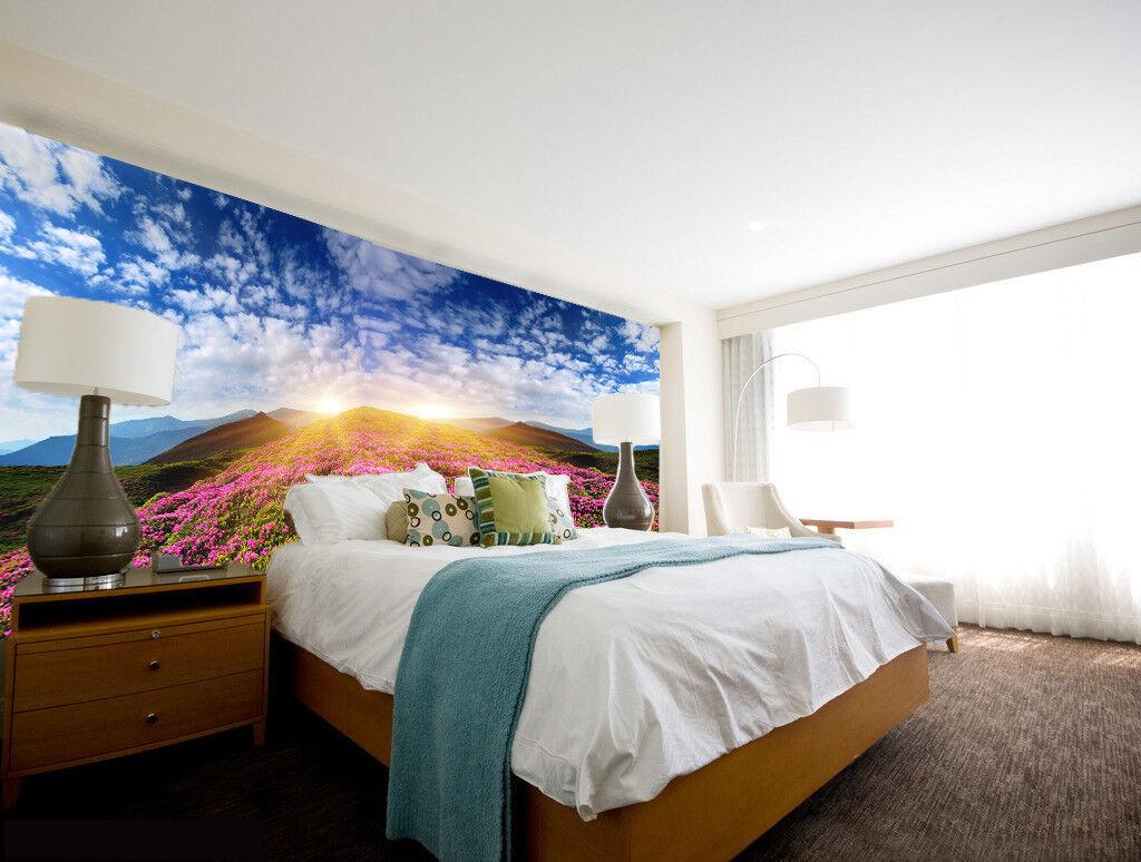 3D 3D 3D Lila Blüten Hügel 86 Tapete Wandgemälde Tapete Tapeten Bild Familie DE Summer 496eee