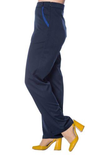 Women/'s blu vintage con vita alta finitura a Contrasto Pantaloni Da Banned Apparel