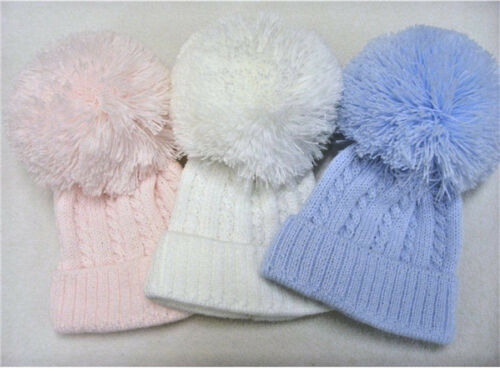Kinder Baby Knitted Cable Pom Pom bobble Hat 0-3 months