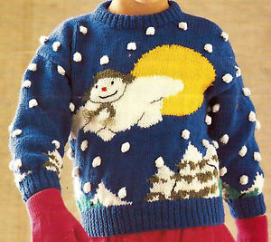 Child s Christmas Jumper Knitting Pattern : CHILDS SNOWMAN SWEATER JUMPER KNITTING PATTERN CHRISTMAS 22/30 INCH (49) eBay