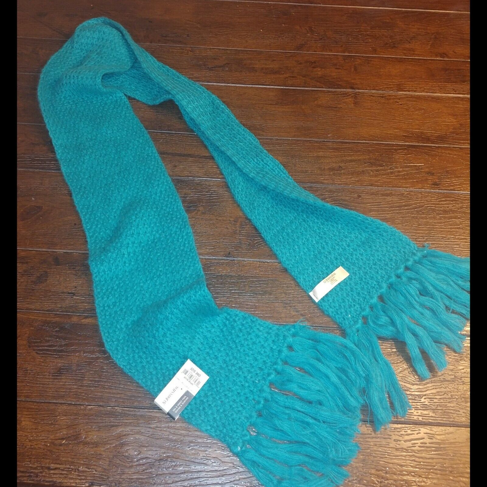 St John's Bay Teal Aqua Scarf Chunky Knit Scarf Fringe Nwt