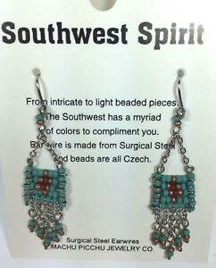 Details about Machu Picchu Earrings Southwest Spirit Beads Turquoise Silver  Tone Carded NEW