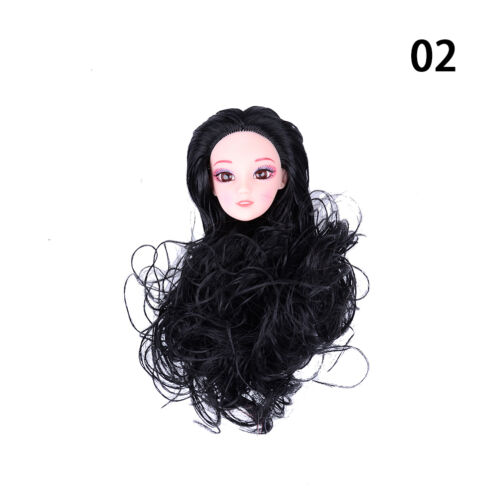 Quality Doll Head with Colorized straight Hair DIY Accessories For  j5l