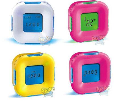 New 4in1 LED 4 Side Portable Digital Alarm Desk Clock Calendar/Timer/Temperature