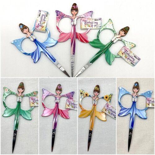 "4/"" Embroidery Scissors Yellow Green Angel Crochet Scissors Blue Pink"