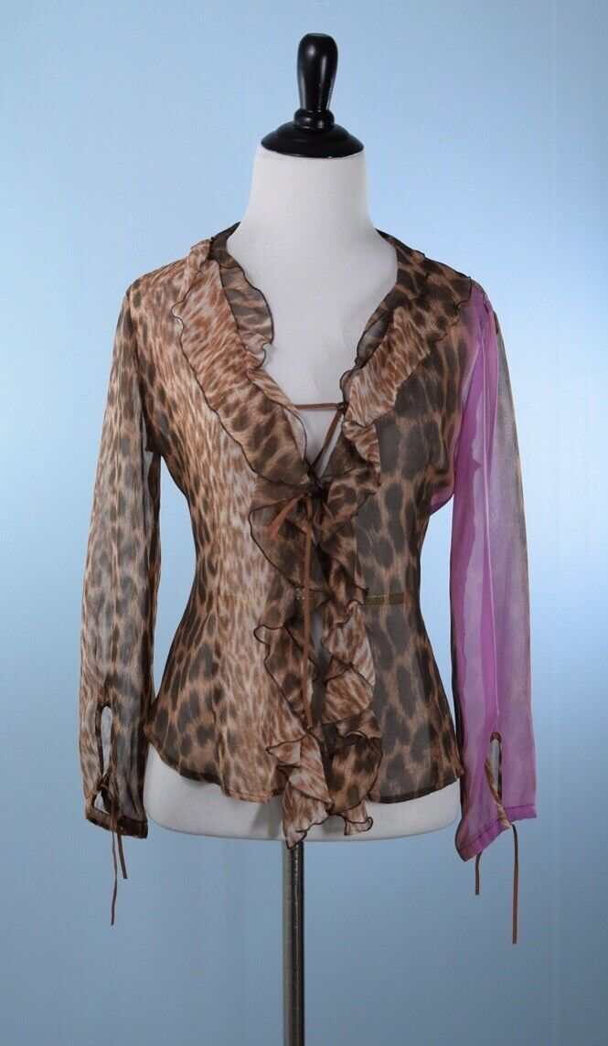 JUST CAVALLI  Brown Pink Long Sleeve Leather Tie Blouse Size 42