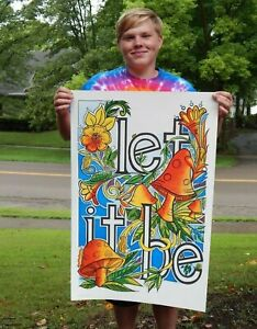 Very-Rare-NOS-Vintage-1971-Let-it-Be-Hippy-Poster-Marijuana-Beatles-Peace-Love