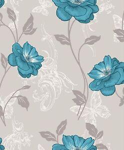 Crown-Milie-Schmetterlinge-Blumenmuster-Designer-Tapete-Tuerkis-Beige-M0879
