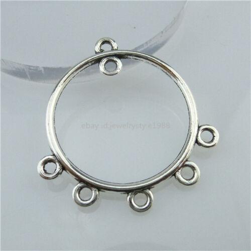 13546 15PCS Vintage silver tone Alloy Round Pendentif Dangle Boucle d/'oreille Making