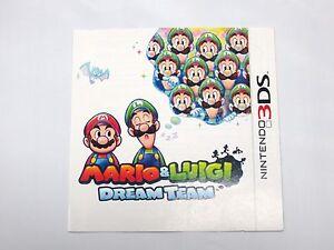 Mario Luigi Dream Team 3ds Instruction Manual Booklet Only
