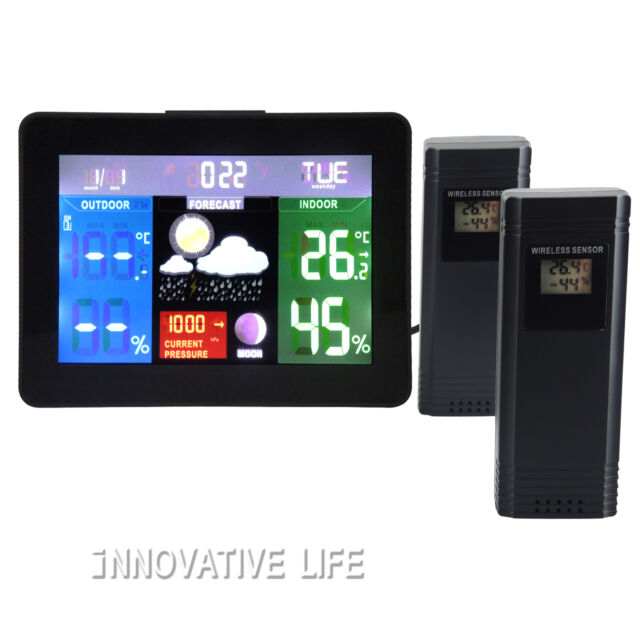 Weather Station Thermometer Humidity Digital Barometer Clock 2 senso 220V Only