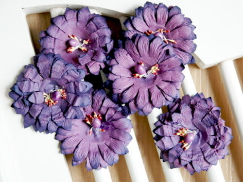 SUNFLOWER PAPER 50-55mm Manor House ConB GERBERA 6 Pack PURPLE with Centre