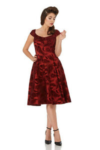 Elegant-Red-Feathers-Flock-Print-50s-Rockabilly-Retro-Vintage-Christmas-Dress