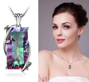 Rainbow-Topaz-Gemstone-Crystal-Leaf-Vines-Pendant-925-Silver-Chain-Necklace-Gift