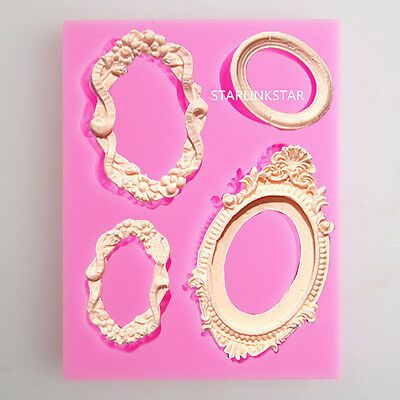 3D Mirror Frame Silicone Mold Fondant Cake Decorating Chocolate Baking Mould