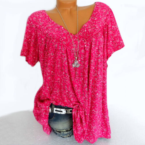Plus Size Lot Casual Summer Loose Blouse Print Shirt Women Short Sleeve Tee Tops