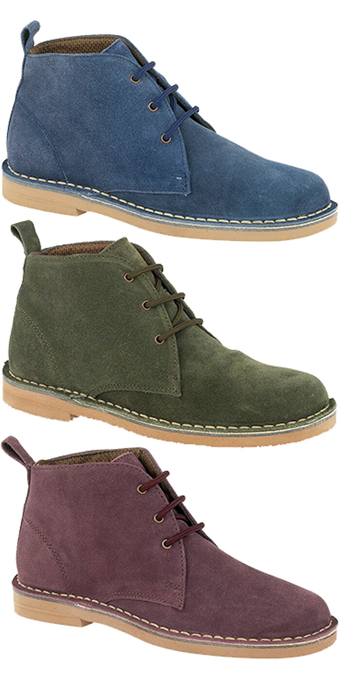 Womans Ladies Brand New Navy Green Plum Suede Desert Boots Sizes 3 4 5 6 7 8
