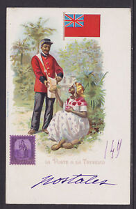Kunzli-used-PPC-La-Poste-a-la-Trinidad-1901-french-usage-Letter-Carrier-Flag