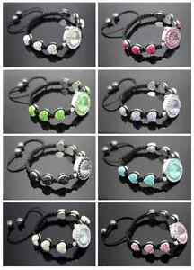UK-NEW-SHAMBALLA-STYLE-HEART-ALLOY-CRYSTAL-CLAY-BEADS-WATCH-BRACELETS-12MM-BEAD