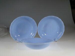 Set of 3 Pyrex Glass Delphite Blue Canadian Piecrust Soup or Veg Bowls c.1948