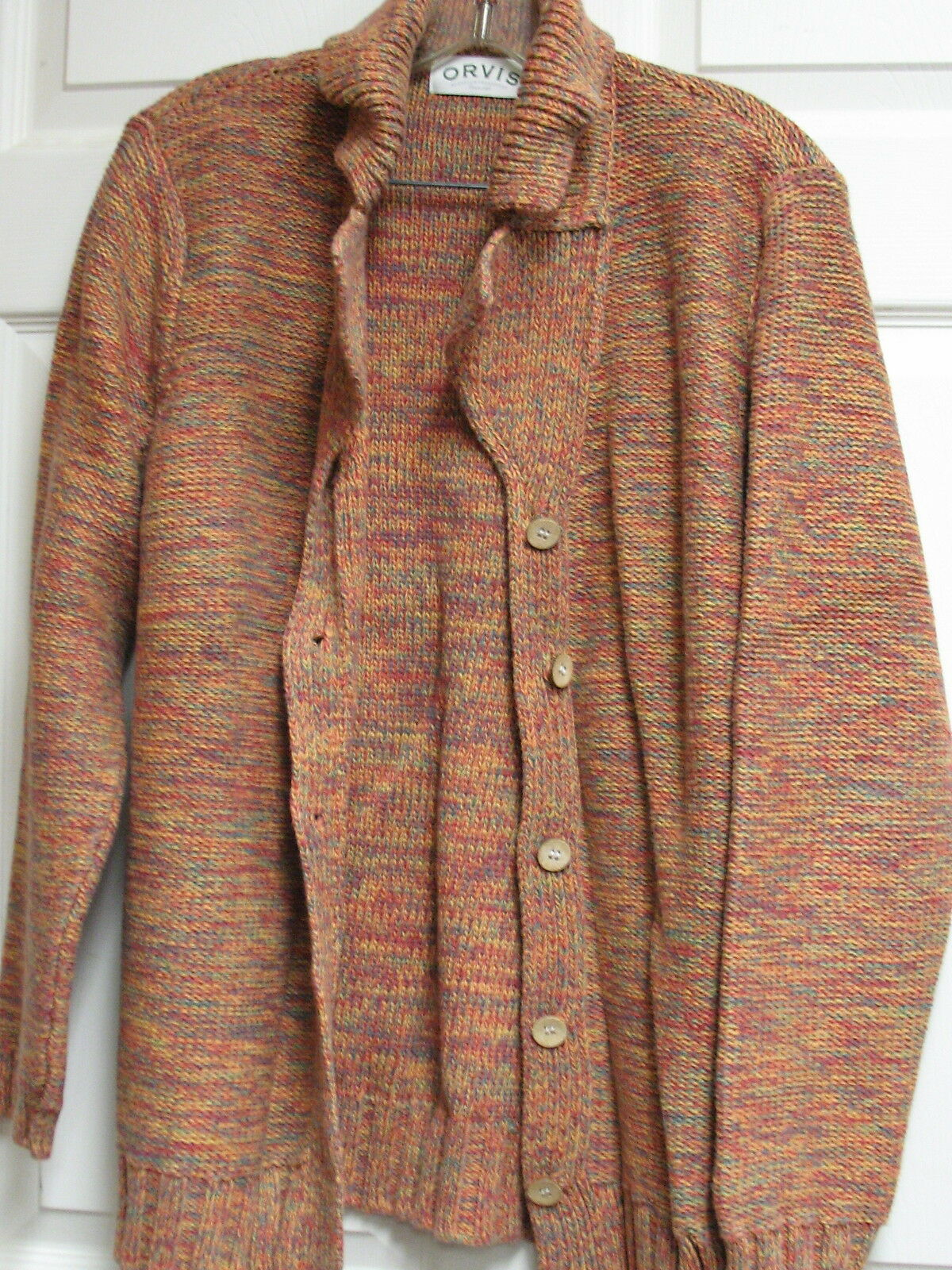 ORVIS Collared Cardigan Sweater Sweater Sweater Rainbow Multi-colord Cotton RN 70534 Size M 33b35d