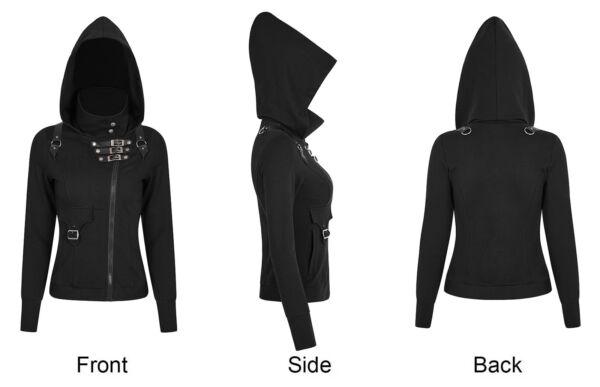 PUNK RAVE Gothic Hoodie für Damen mit RV und Riemen Kapuzenjacke Schwarz Sweater