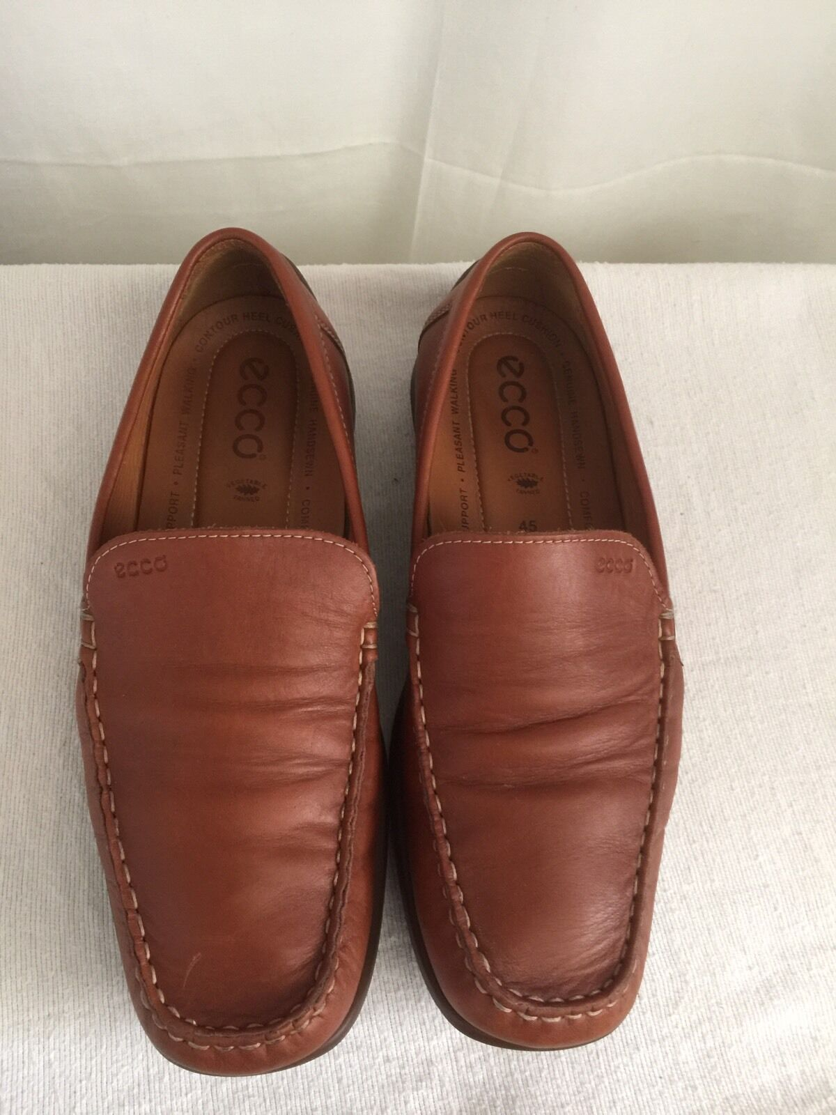 ECCO MEN'S MOCCASIN DRIVING SHOES LOAFERS Comfort  BROWN SIZE EU 45   11-11.5