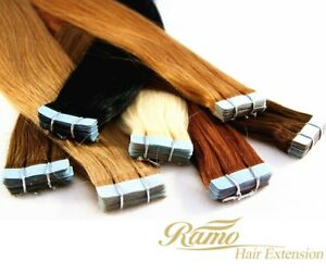 Tape-in-Extensions-Tape-on-RAMO-Premium-Remy-Echthaar-Tressen-4cm-x-40-Stueck