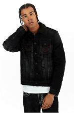 Levi/'s Mens Camo Sherpa Lined Denim Jean Trucker Jacket Covert Ops Black