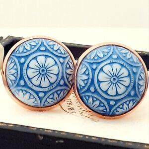 Vintage-Preciosa-Blue-White-Mosaic-Glass-Large-Round-Rose-Goldtone-Cufflinks