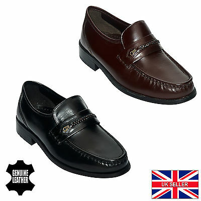 Freundschaftlich Lucini Real Leather Mens Slip On Casual Formal Office Wear Shoes