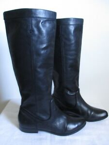 Frye-Cindy-Slouch-Black-Leather-Womens-Boots-Knee-High-Pull-On-Size-6-5-US