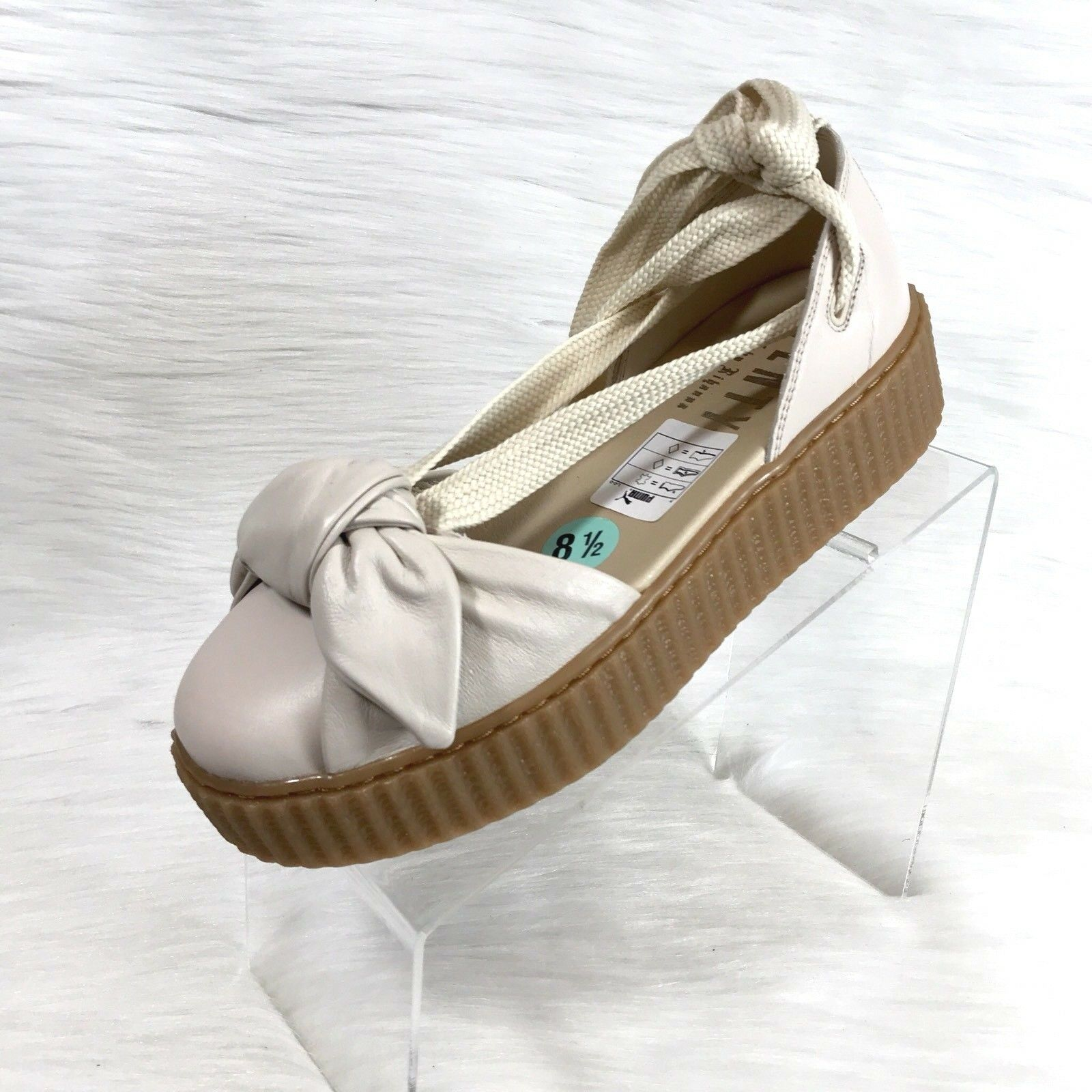 Fenty Puma X  Rihanna Bow Creeper Sandals Beige Leather Size 8.5 New
